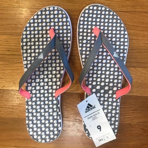 Adidas Eezay Dots Flip Flops Nwt